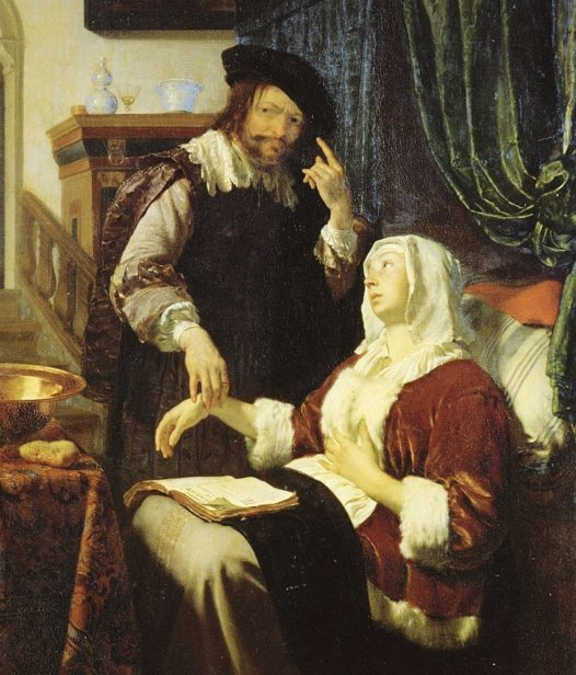 """Yes dear, of course I believe you're ill…"" Frans Van Mieris, 'The Doctor's Visit', 1657."